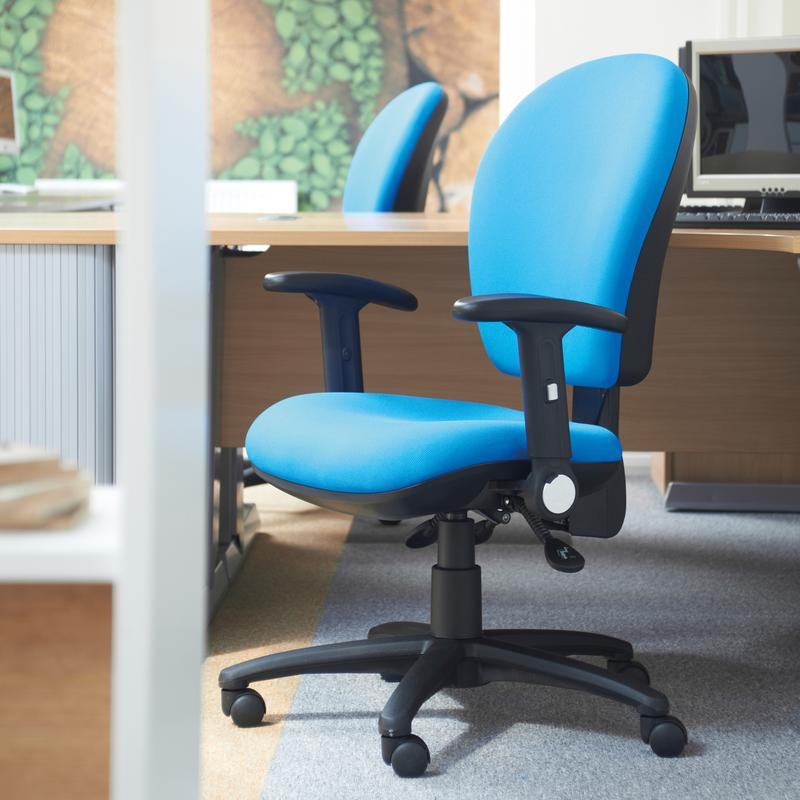 Lento high back operator chair with folding arms blue