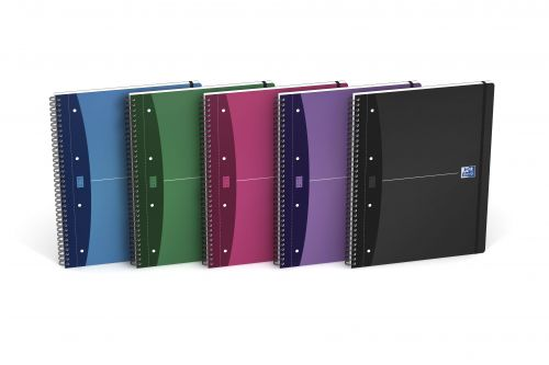 5 Star Office Notebook Wirebound Polypropylene Elasticated 80gsm A5 Black Pack 6