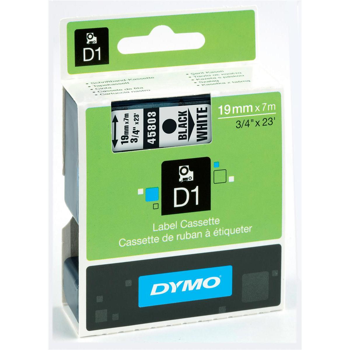 3//4/'/' 2 PACK DYMO 45803 Standard D1 Labeling Tape Black print on White tape