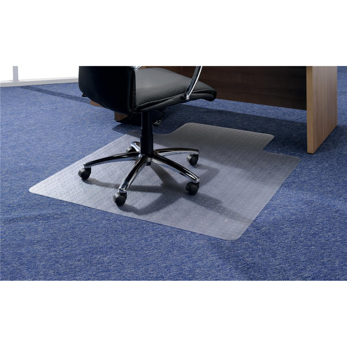 5 Star Office Chair Mat Hard Floor Protection PVC W900xD1200mm Clear Transpar