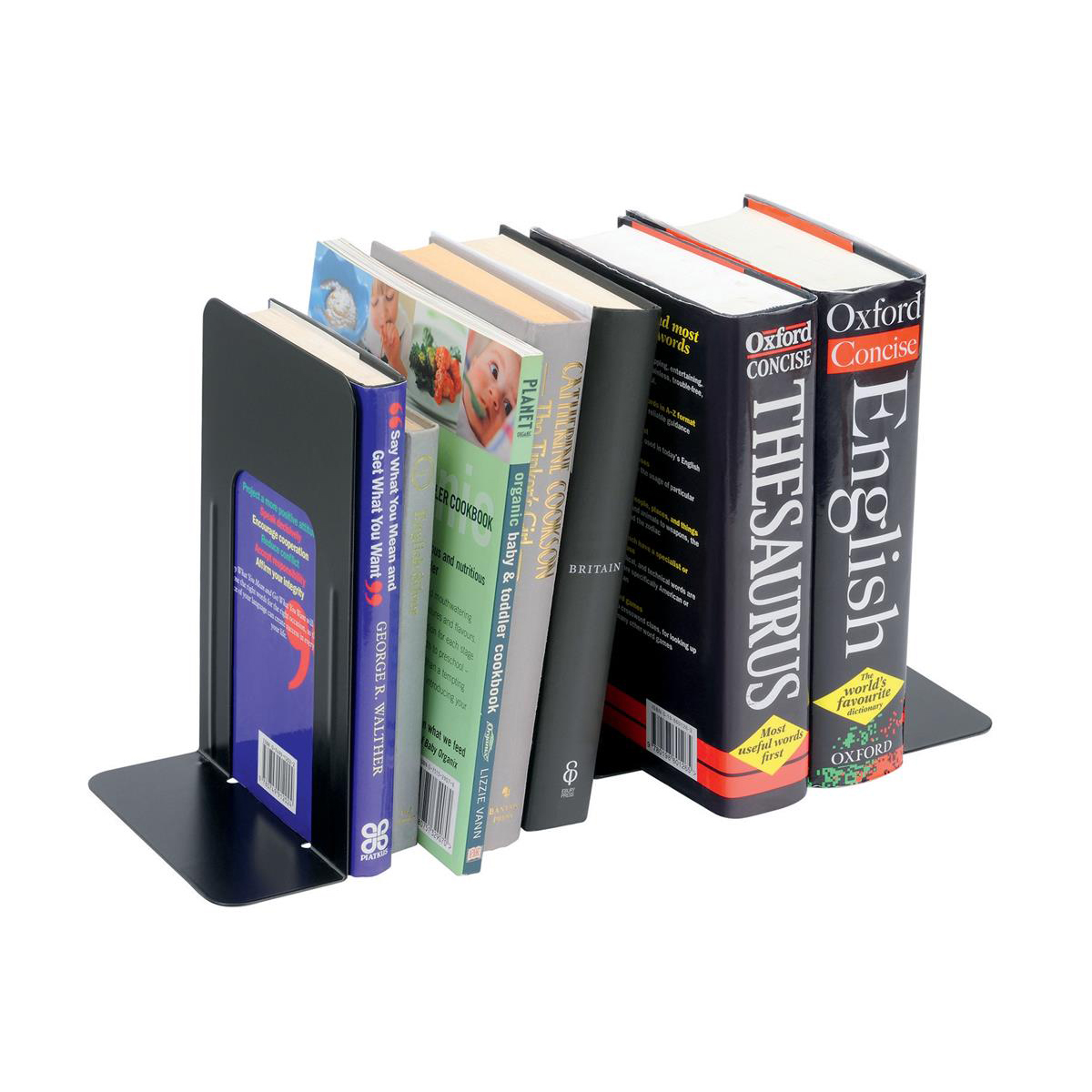5 Star Office Bookends 180mm Metal Heavy Duty 7 Inch Black [Pack 2]   ASAP  Distribution