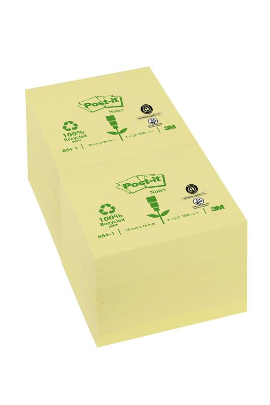 Post-it Notes Recycled 76x76mm 100 Sheets Canary Yellow (Pack 12)