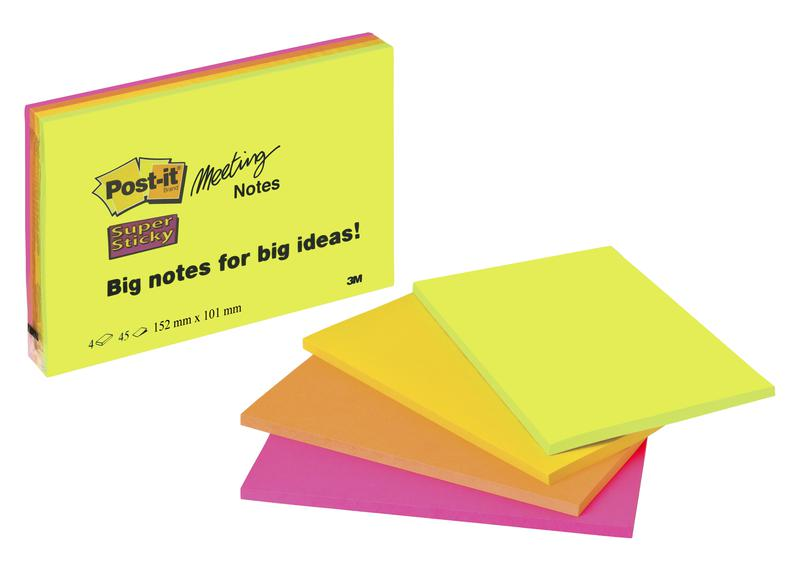 Post-it Super Sticky Meeting Pad 149x98mm 45 Sheets Neon Colours (Pack 4) 6445-SSP