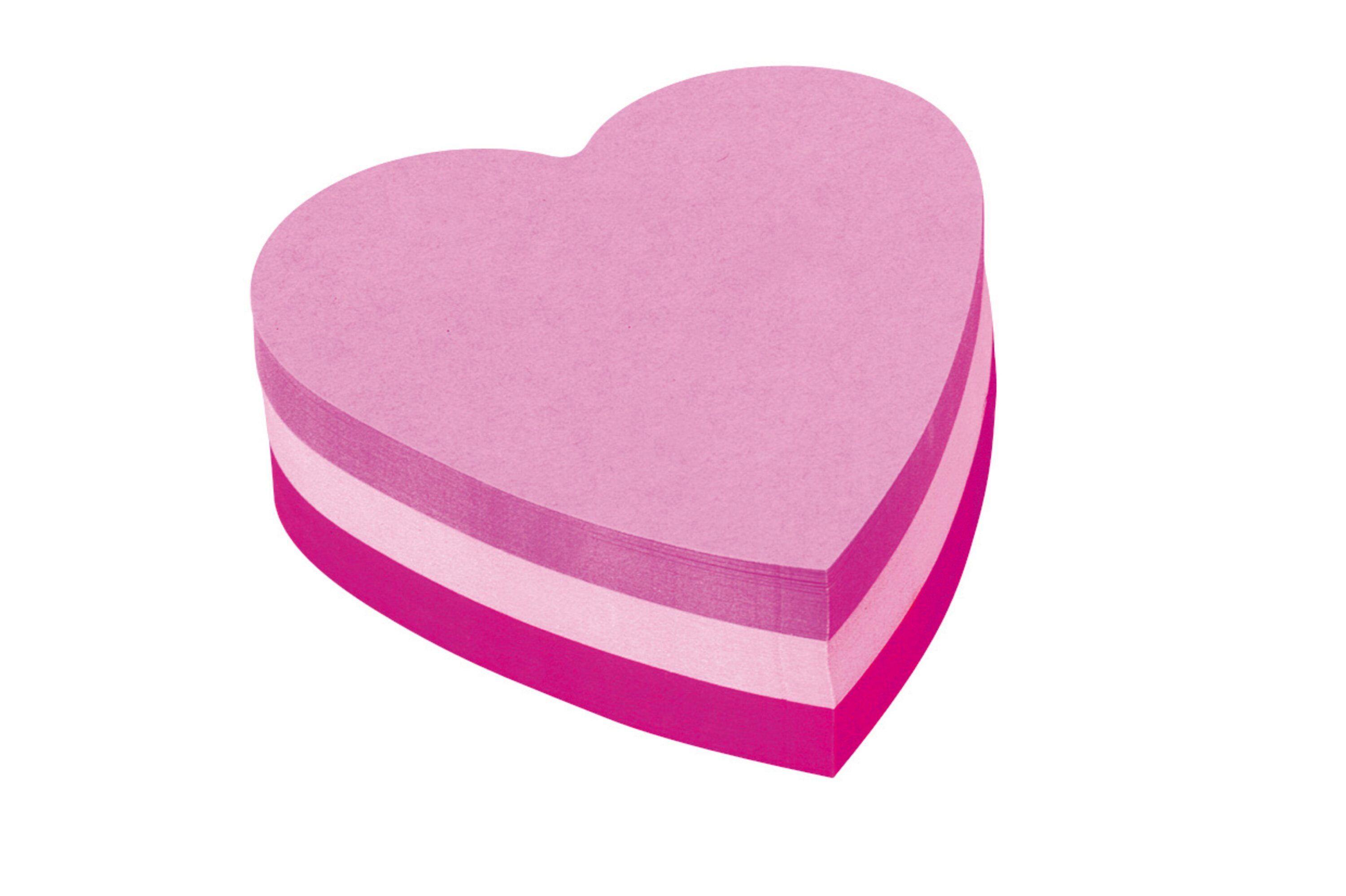 Shapes Post-it Heart Shaped Block Pad 70x70mm Pink 2007H