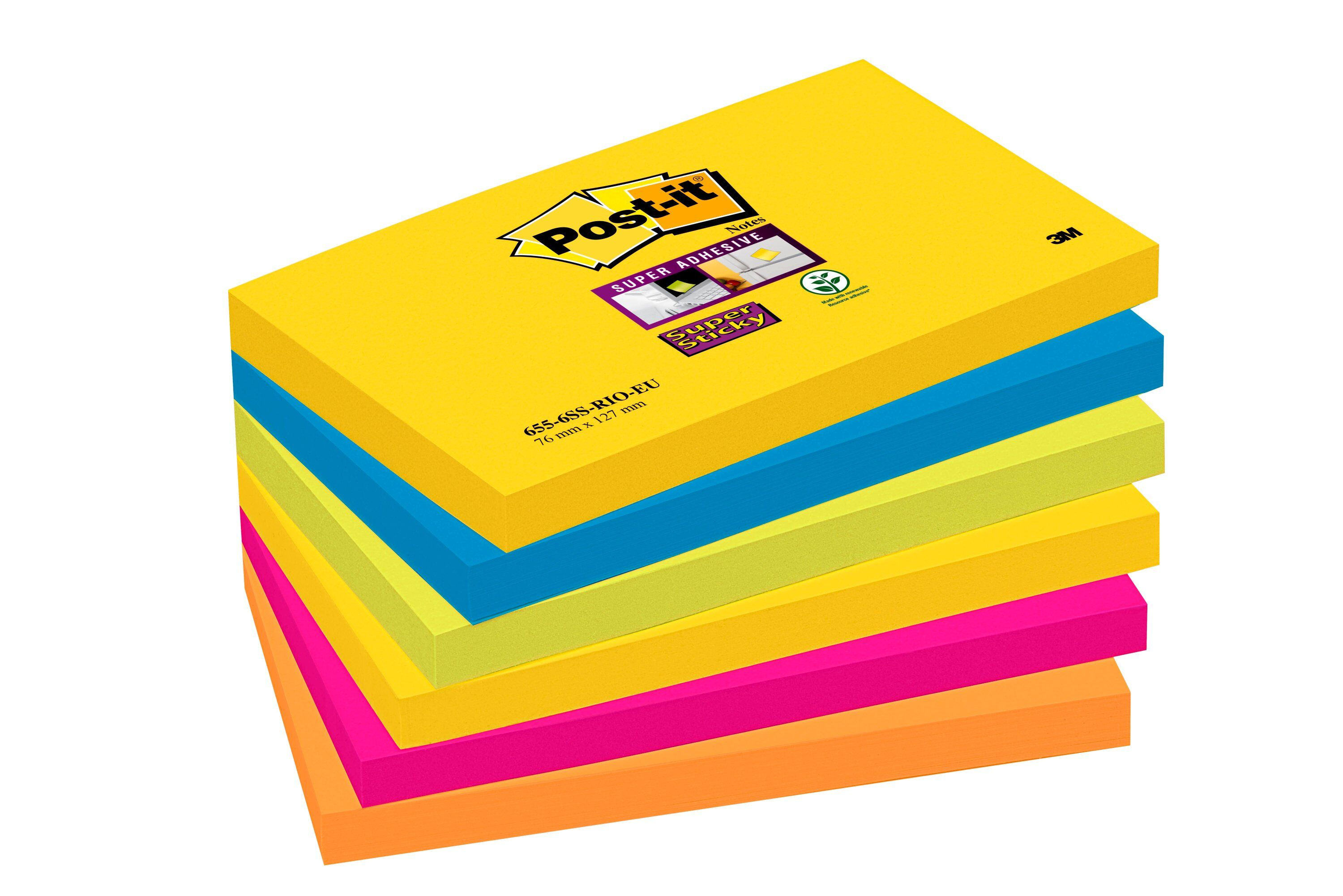Super Sticky Post-it Super Sticky 76x127mm Rio Assorted 70-0052-5132 PK6