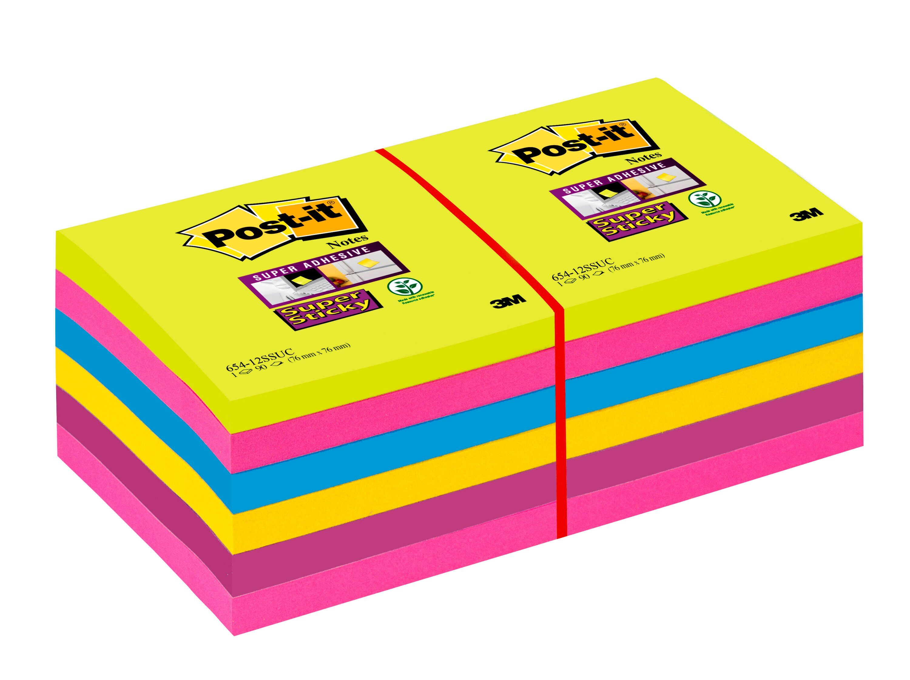 Super Sticky Post-it SuperSticky Notes 76x76mm Ultra Assorted 654-12SSUC PK12