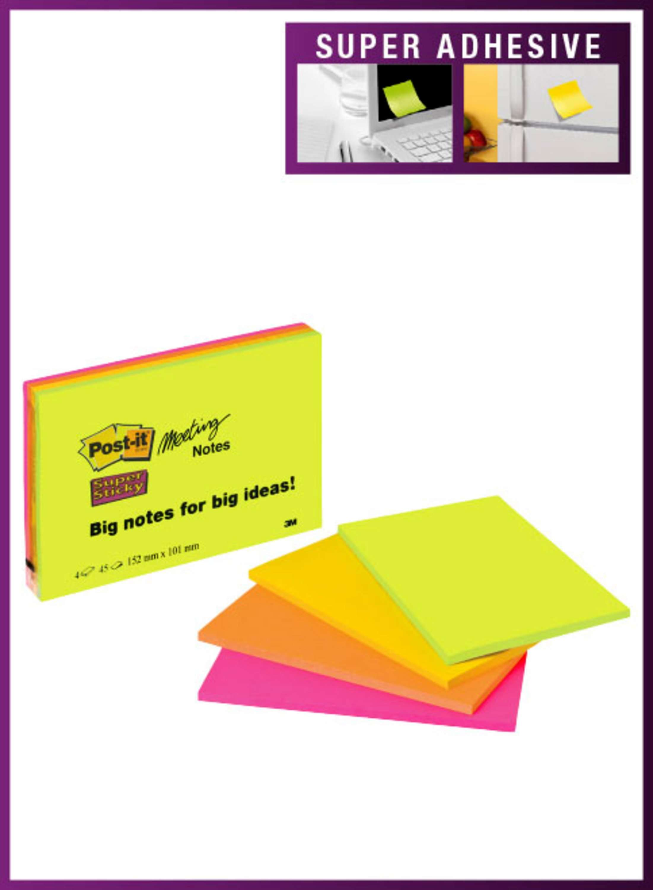 Super Sticky Post-it SuperSticky Meeting Pad 149x98mm Neon 6445-SSP(PK4)