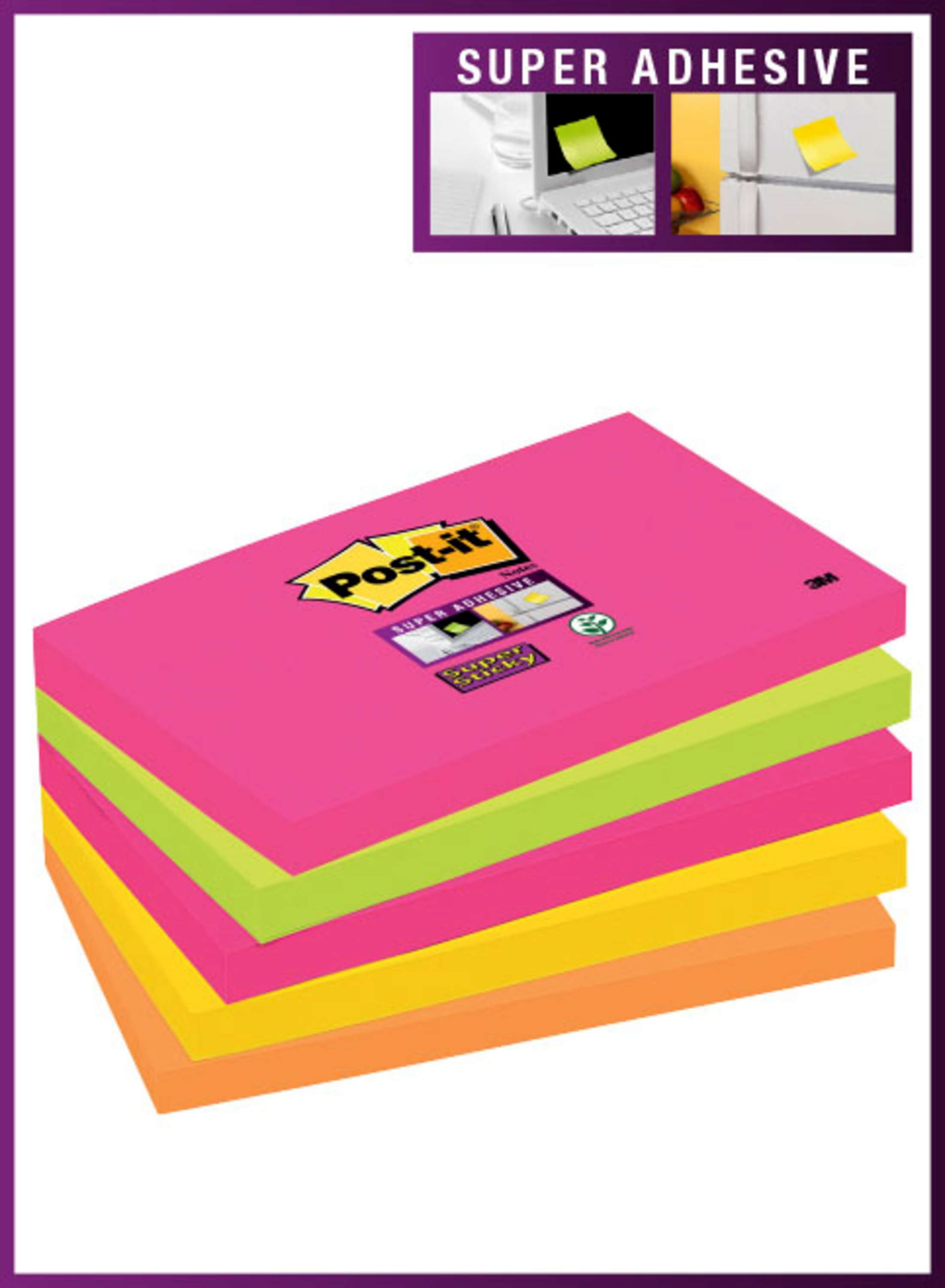 Post-it Super Sticky Notes 76x127mm 90 Sheets Neon Rainbow Colours (Pack 5) 655-NS