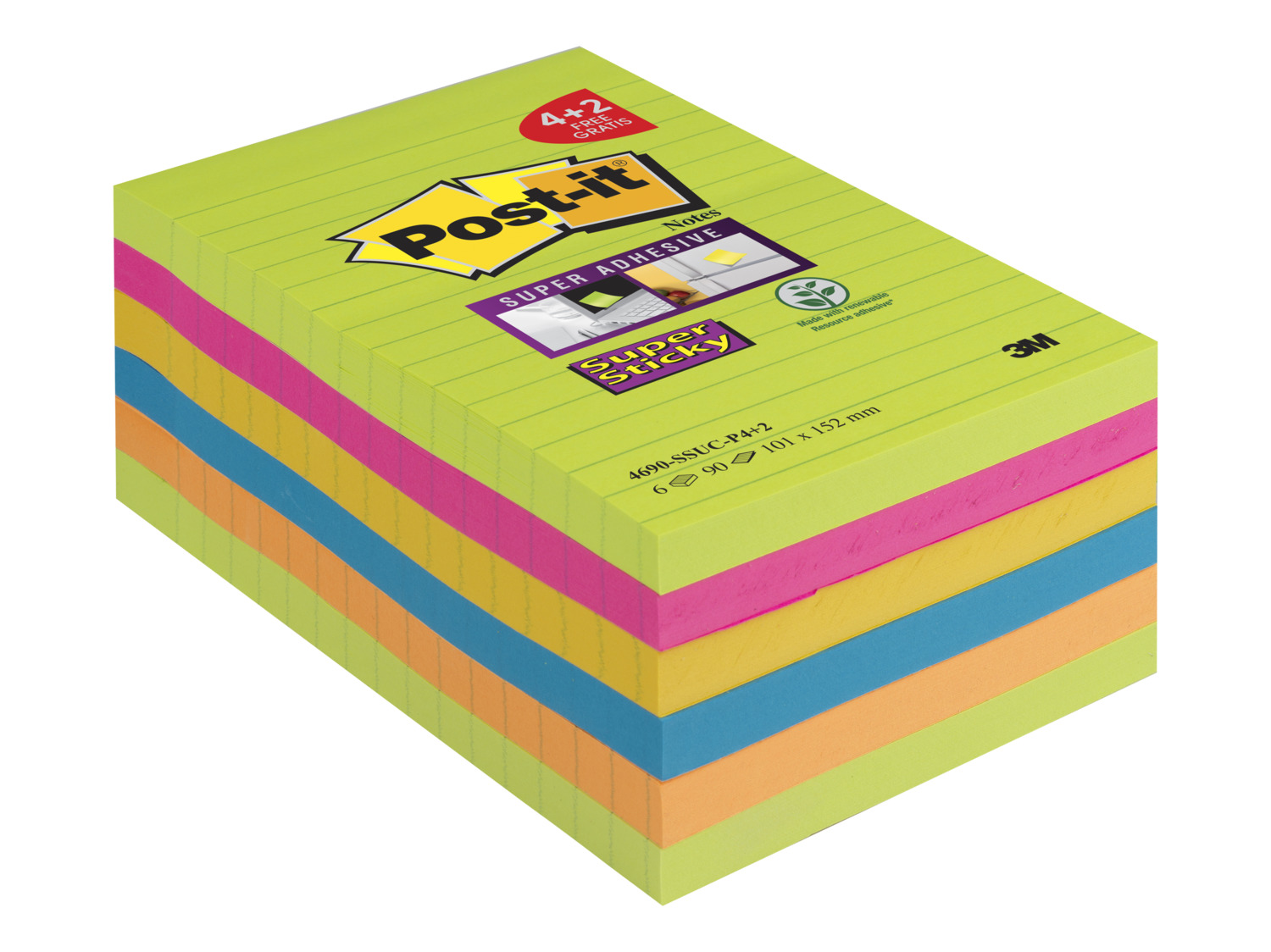Large Format Post-it Super Sticky Notes 101x152mm Prom Pack 4 plus 2 Free