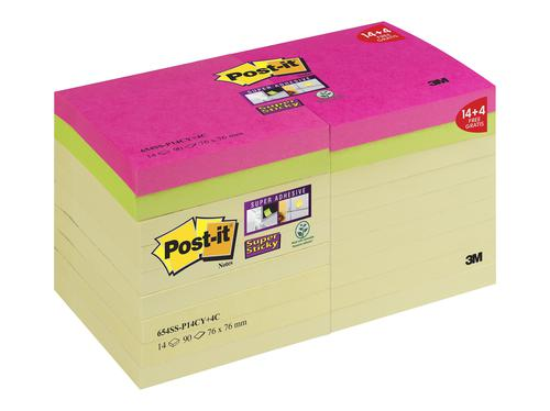 Post-it Super Sticky Notes 76x76mm 90 Sheets Promotional Pack 14 Yellow Plus 4 Free Pink/Green