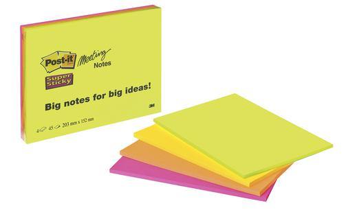 Post-it Super Sticky Meeting Notes Pads of 45 Sheets 200x149mm Bright Colours Ref 6845SSP [Pack 4]