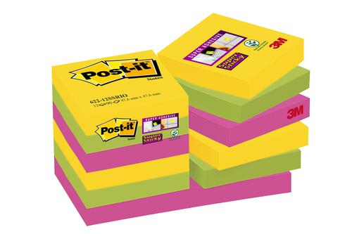 Post-it Super Sticky Notes Rio 51x51mm Ref 622-12SSRIO-EU [Pack 12]