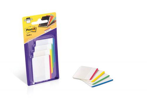 Post-it Index Filing Tabs Strong Flat 51x38mm Six Each of Blu/Gre/Red/Yel Ref 70071425006 [Pack 6]