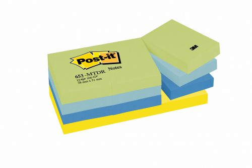 3M Post-it Note Dream Colours 38x51mm Cool Neon Rainbow (12) 653-UC