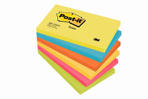 3M Post-it Note Energy Colours 76x127mm Warm Neon Rainbow (6) 655-TFEN