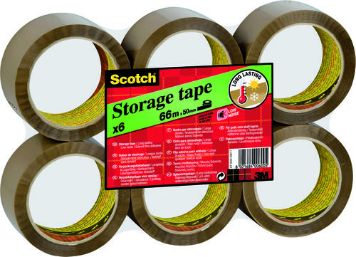 Scotch Packaging Tape Low Noise 50mmx66m Buff Ref 3120BT [Pack 6]