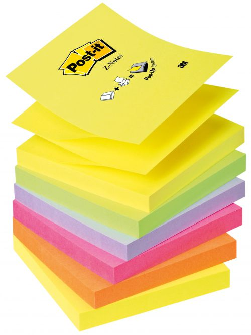 Post-it Z Notes Refill 76x76mm Neon Rainbow R330-NR (PK6)