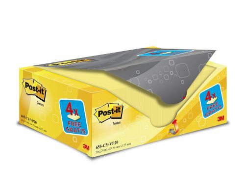 Post-it Note Value Display Pack Dispenser with Pads 76x127mm Yellow Ref 655Y-VP20 [Pack 20]