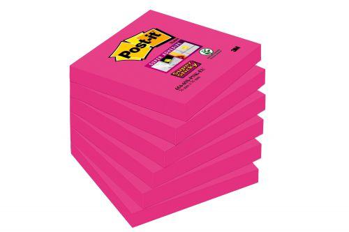 Post-it Super Sticky Notes 76x76mm 90 Sheets Fuchsia (Pack 6) 654-6SS-PNK-EU