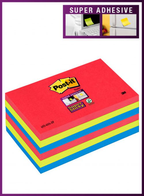 3M Post-it Super Sticky Colour Notes 76x127mm Bora Bora (6) 655-6SS-JP