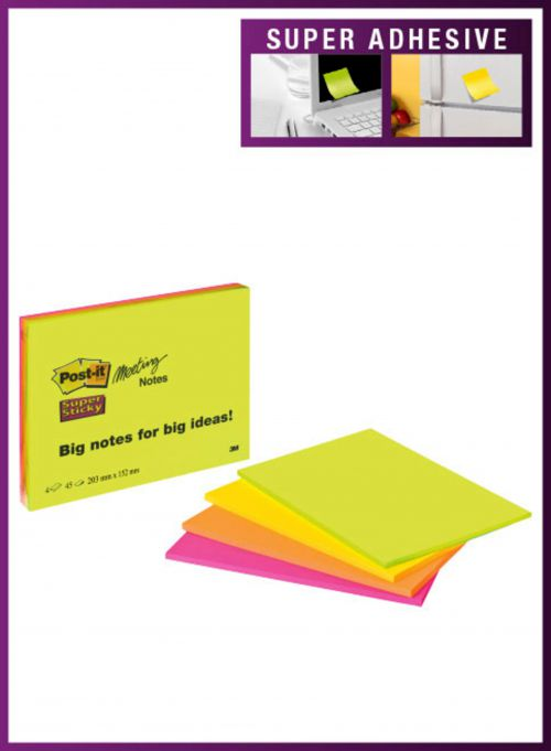 Post-it Super Sticky 200x149mm Neon 6845-SSP (PK4)