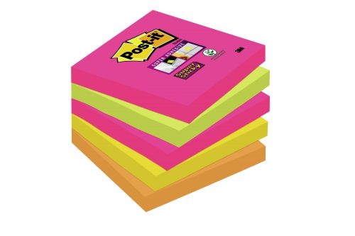 Post-it Super Sticky 76x76mm Neon Rainbow 654-NS (PK5)