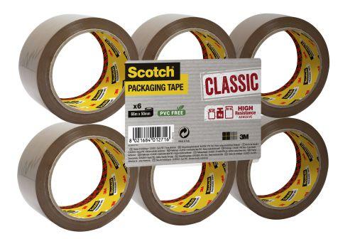 Scotch Classic Packaging Tape 50mmx66m Buff Ref CL5066F6B [Pack 6]