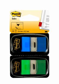 Post-it Index Tabs Green and Blue (Pack of 100) 680-GB2