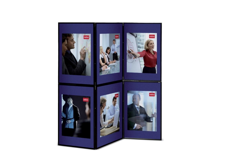 Nobo Showboard Display 6 Panel Blue/Grey