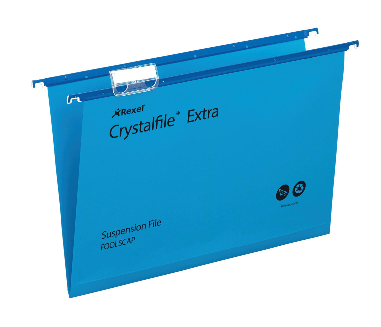 Suspension File Rexel Crystalfile Extra Foolscap Suspension File 5mm Blue PK25