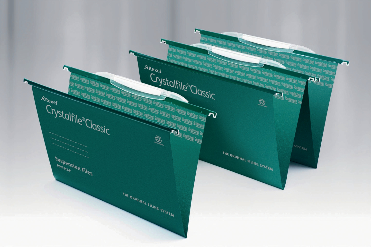 Lateral Files Rexel Crystalfile Classic Foolscap Lateral Suspension File Manilla 15mm V Base Green (Pack 50)