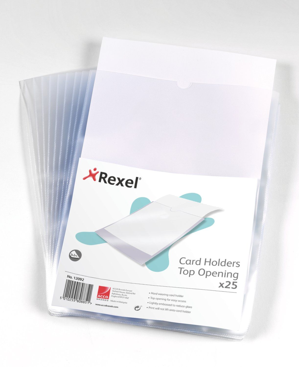 Rexel Card Holder Polypropylene Wipe-clean Top-opening A4 Ref 12092 [Pack 25]