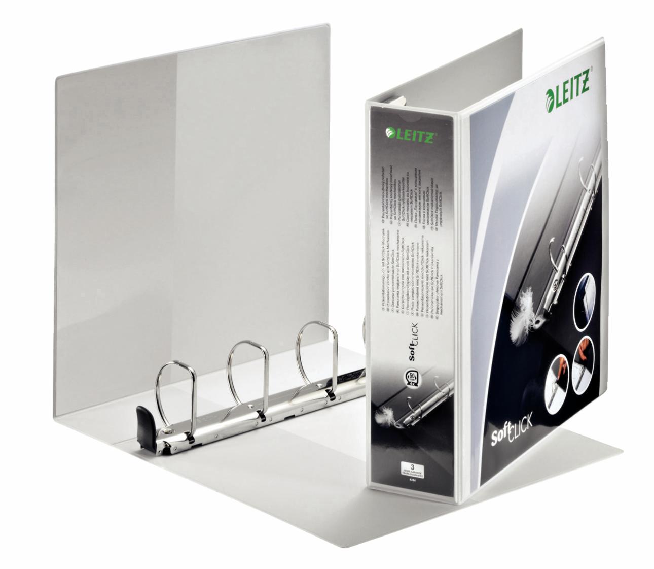 Leitz Prem SoftClick Pres Binder A4 4 D-Ring 50mm WH PK4