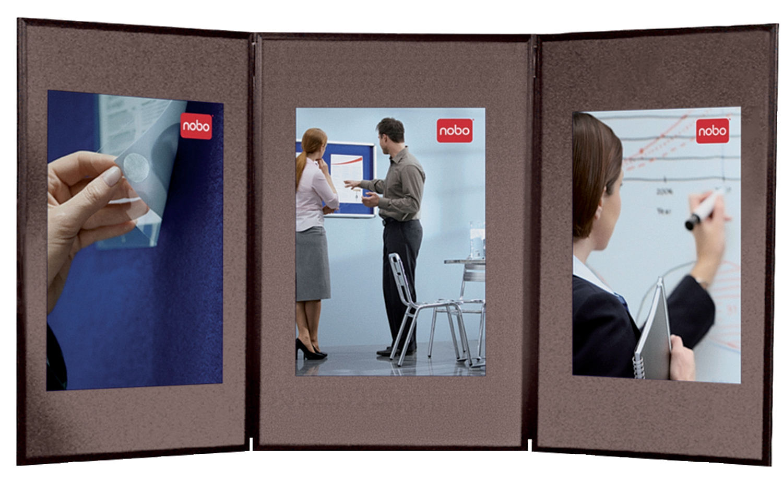 Nobo Showboard Display 3 Panel Blue/Grey