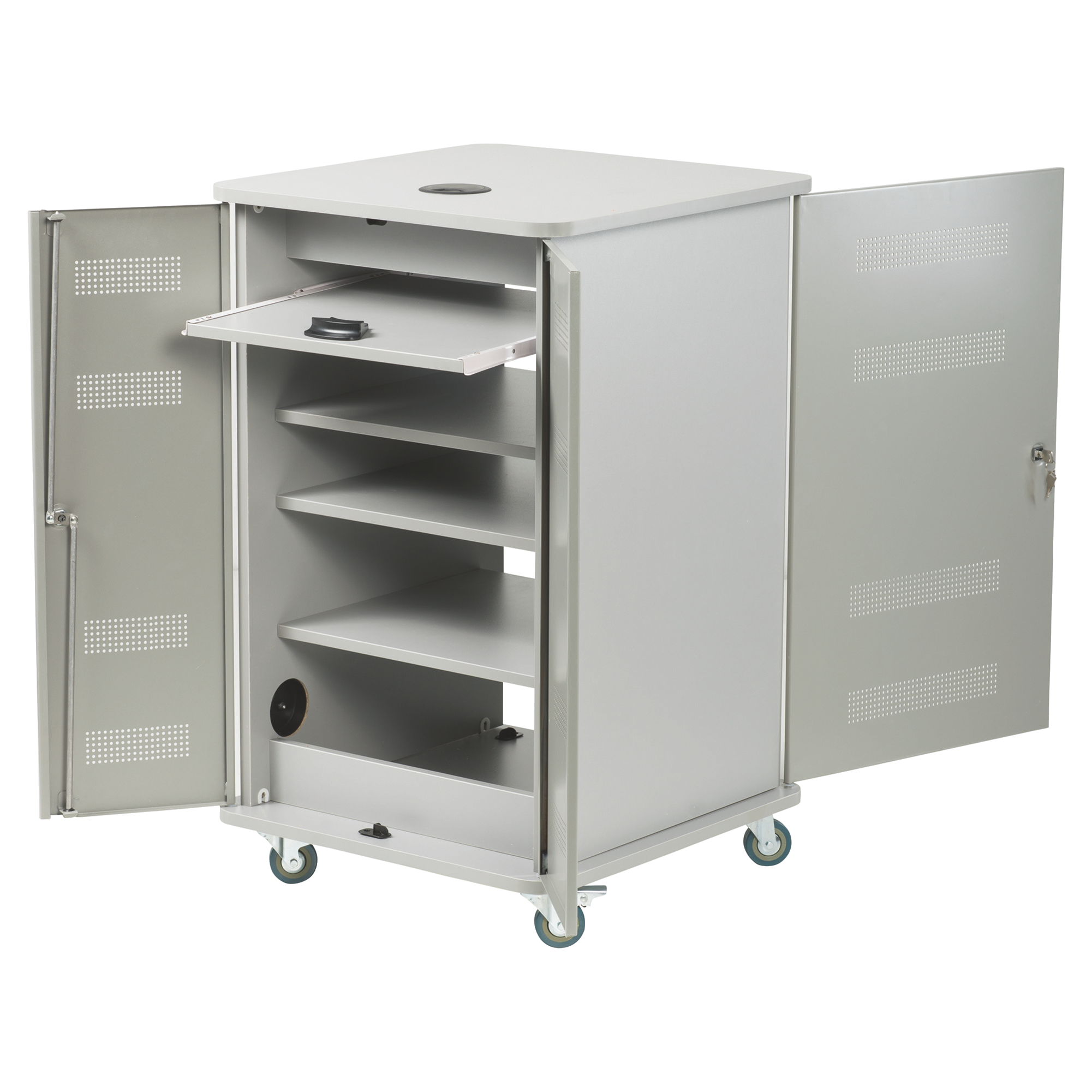 Nobo Multimedia Cabinet Silver/Grey