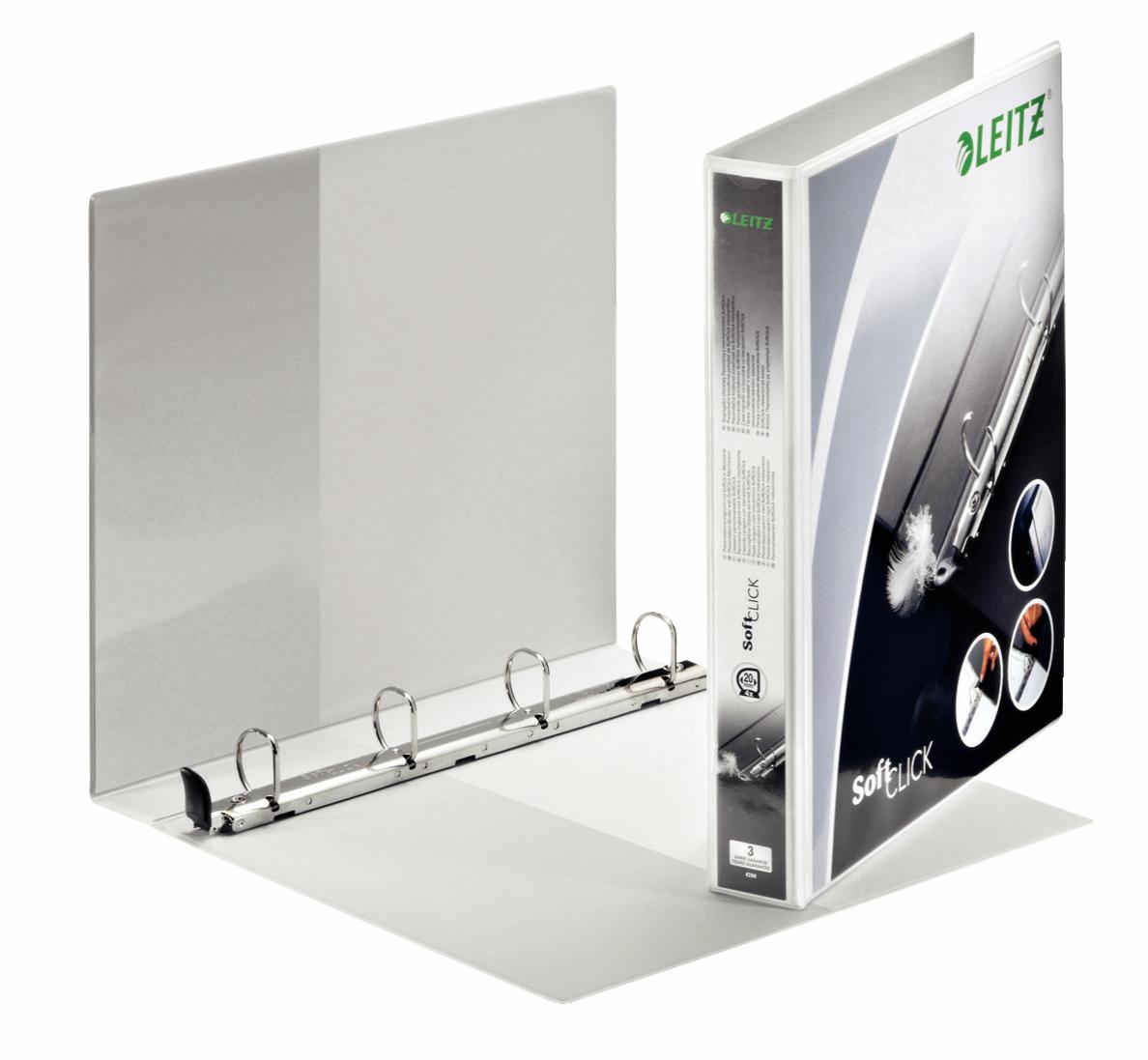 Leitz Prem SoftClick Pres Binder A4 4 D-Ring 25mm WH PK6