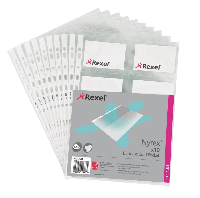 Rexel Nyrex Business Card Pocket A4 13681 (PK10)