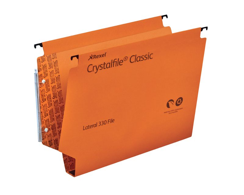 Lateral Files Rexel Crystalfile Classic 300 Foolscap Lateral Suspension File Manilla 30mm Orange (Pack 25) 3000110