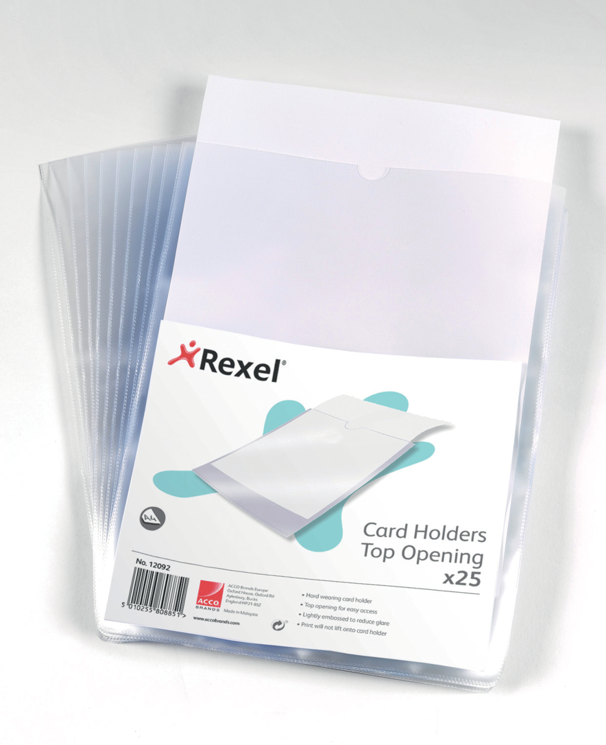 Card Holders Rexel Nyrex Card Holder Polypropylene A4 Top Opening Clear (Pack 25) 12092