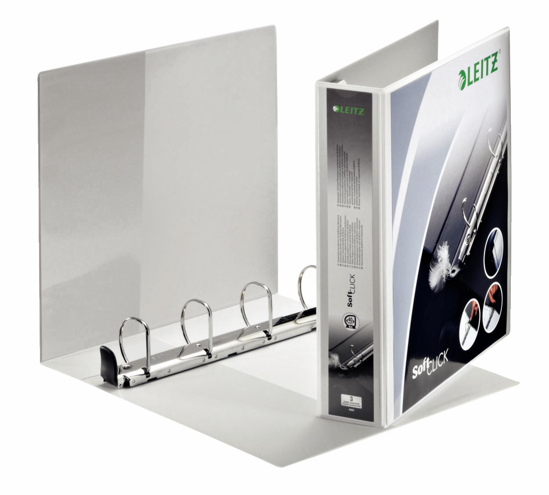 Leitz Prem SoftClick Pres Binder A4 4 D-Ring 40mm WH PK4