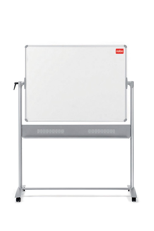 Nobo Basic Mobile Non Magnetic Melamine Whiteboard Aluminium Frame 1200x900mm