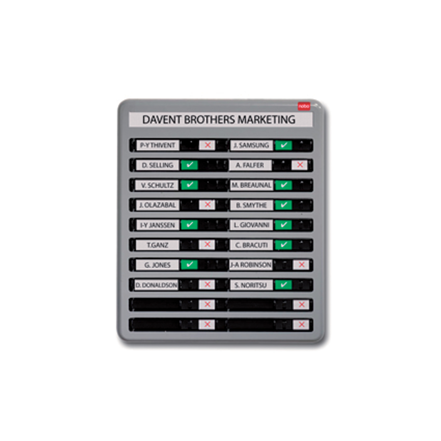 Nobo In/Out Board 10 Names Grey 358x256mm