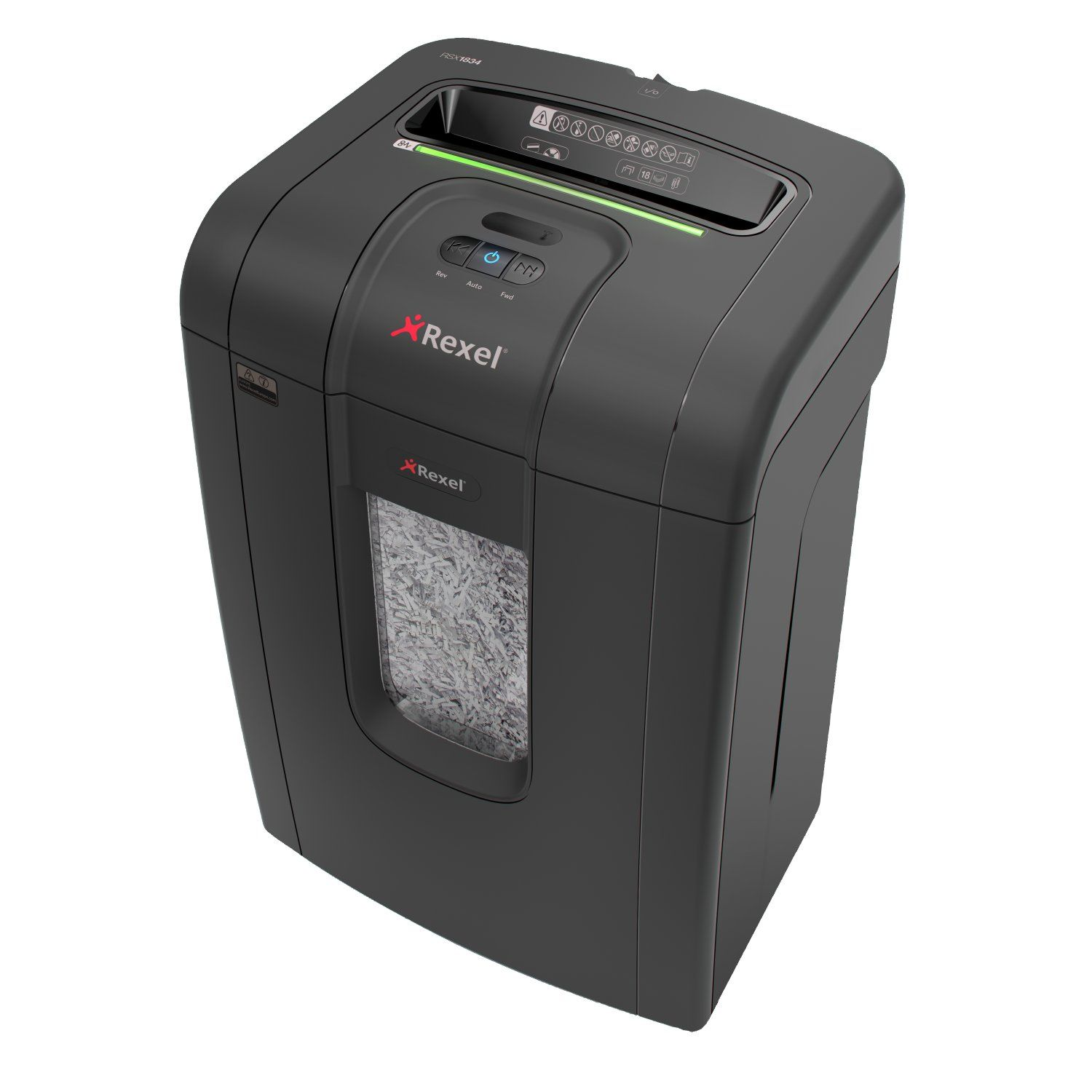 Rexel RSX1834 Shredder 4.0x40mm Cross Cut 34 Litre 18 Sheet P-4 Ref 2105018 [Promo]