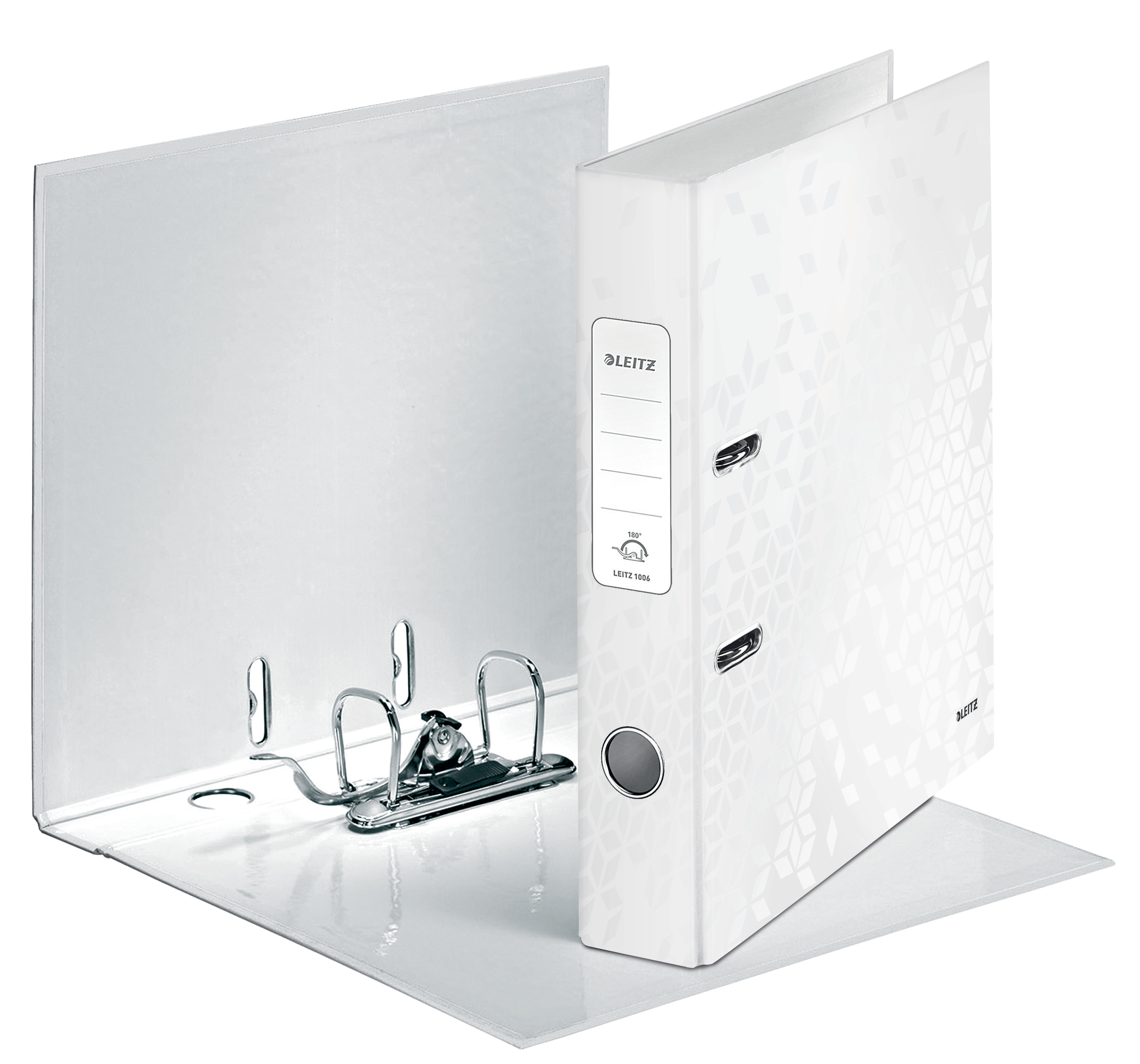 Leitz WOW Lever Arch File A4 50mm Pearl White PK10