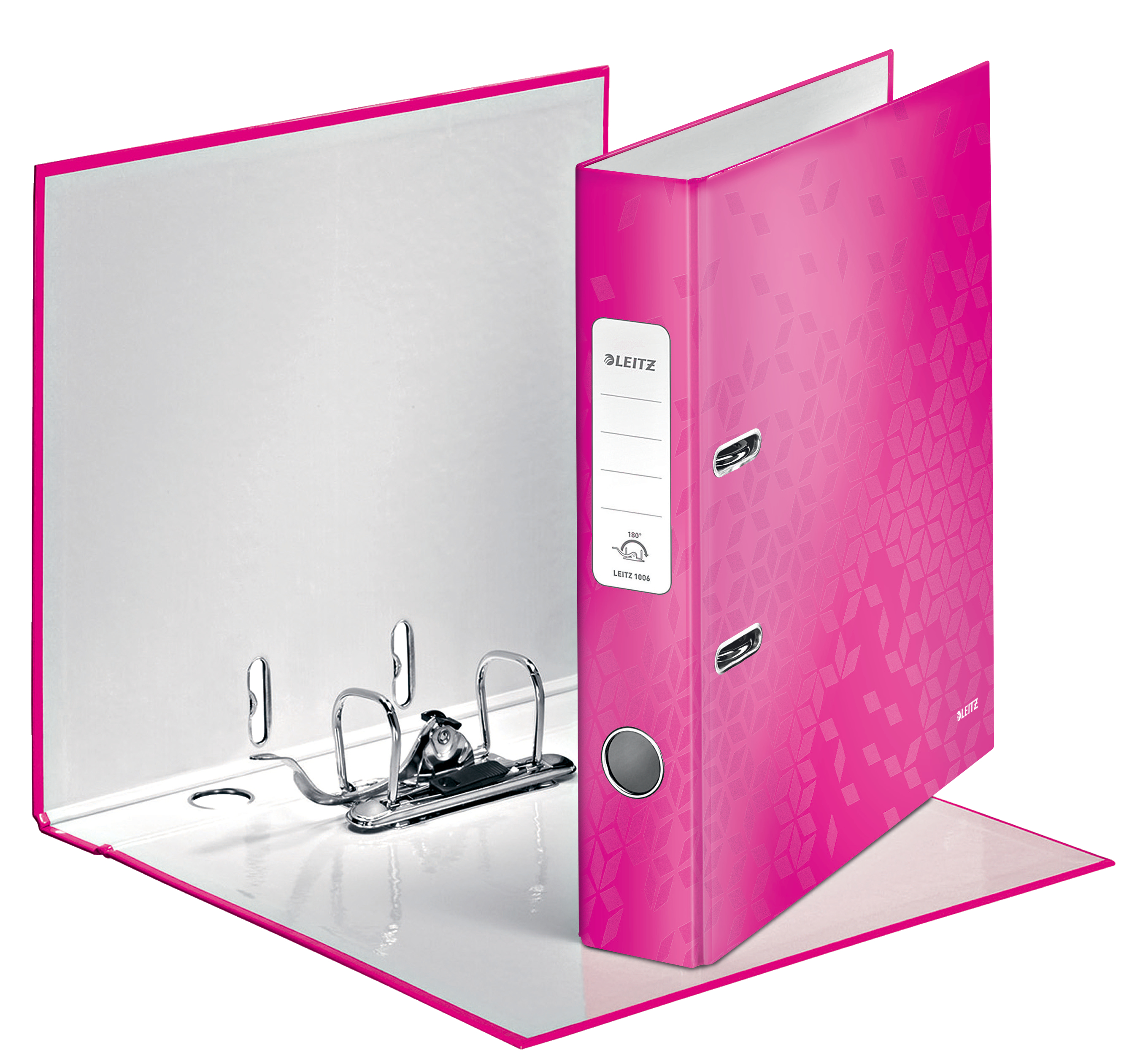 Leitz WOW Lever Arch File A4 50mm Pink Metallic PK10
