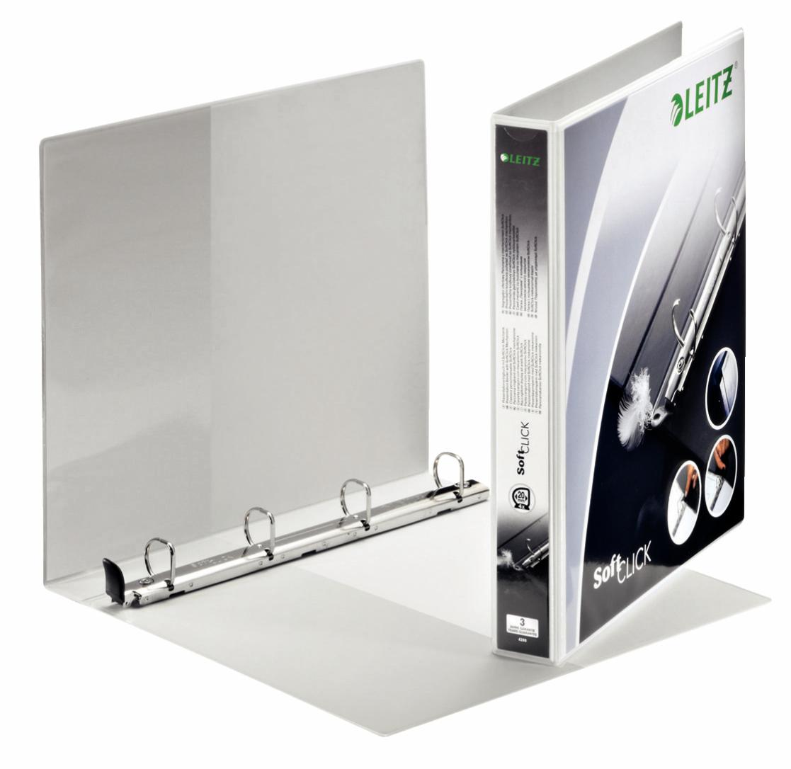 Leitz Prem SoftClick Pres Binder A4 4 D-Ring 20mm WH PK6
