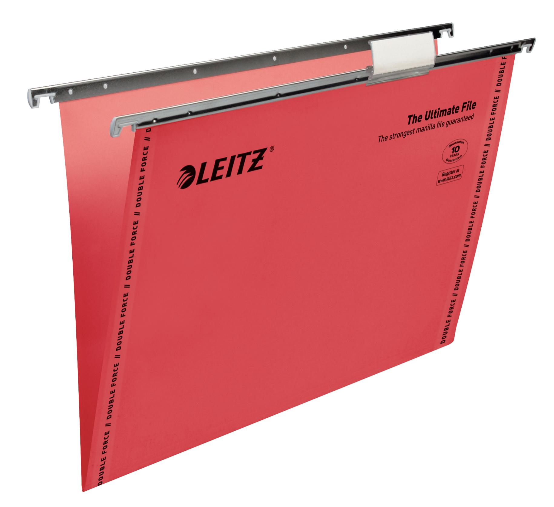 Leitz Ultimate Clenched Bar Foolscap Suspension File Card 15mm V Base Red (Pack 50) 17440025
