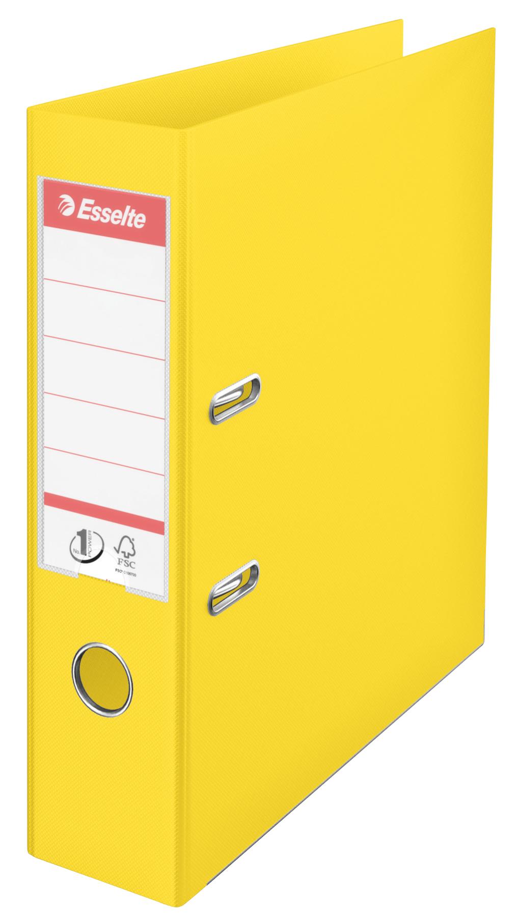 Esselte No.1 VIVIDA Lever Arch File Polypropylene A4 75mm Spine Width Yellow (Pack 10) 624070