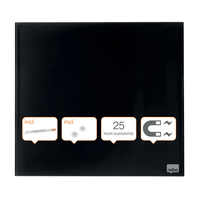 Nobo Diamond Drywipe Board Magnetic 450x450mm Black