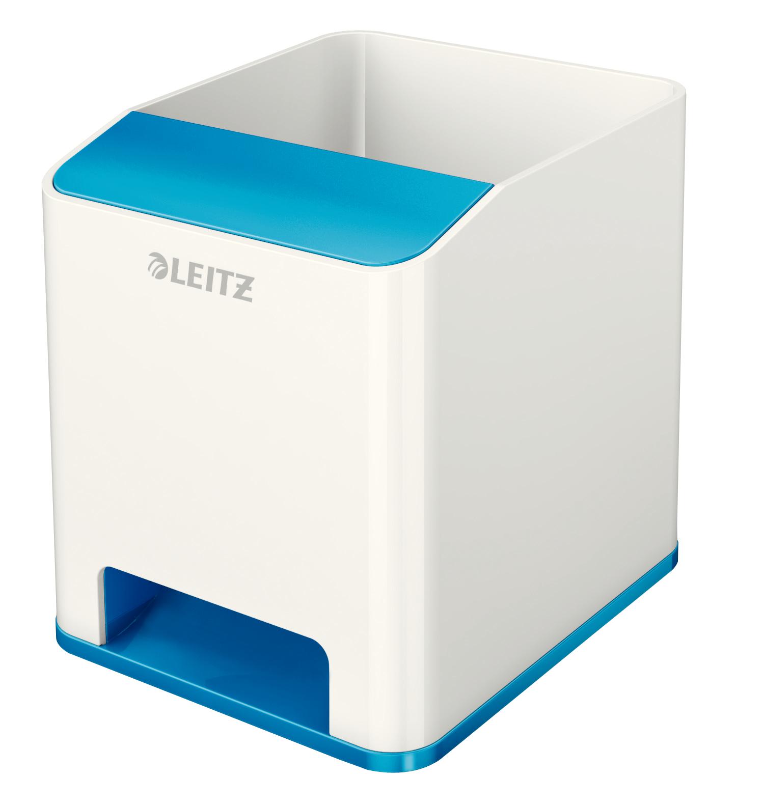 Desk Tidies Leitz WOW Dual Colour Sound Pen Holder White/Blue 536310036